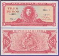 *AF516 CUBA 3 UNC 1988. ERNESTO CHE GUEVARA. MODELO MEDALLON