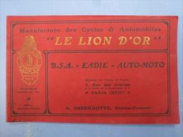 "CATALOGUE IN OBLONG , MANUFACTURE DE CYCLES ""LE LION D'OR"", - Advertising"