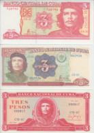 """AF458 CUBA 3$ 1985,1995,2004. ERNESTO \""""CHE\"""" GUEVARA. UNC. LOTE DE 3 BILLETES."""