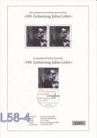 Germany ETB - FDC: 1991 199. Geburtstag Julius Leber  (L58-4) - [7] Repubblica Federale