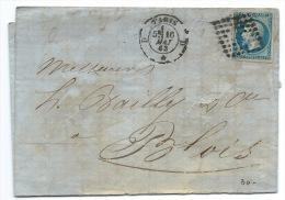 N° 14 BLEU NAPOLEON SUR LETTRE / PARIS 1863 POUR BLOIS / USAGE TARDIF - Marcophilie (Lettres)