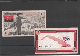 CUBA/KUBA RARO E SPLENDIDO BUONO CON TALLONCINO DI SOTTOCRIZIONE - BOND DA 2$ - FIDEL CASTRO MOVIMIENTO 26 DE JULIO - Cuba