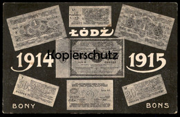ALTE POSTKARTE LODZ BONY BONS 1914 1915 GELDSCHEIN RUBEL Monnaies Money Monnaie Billet De Banque AK Cpa Postcard - Monnaies (représentations)