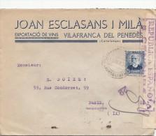 1937, LETTRE ESPAGNE,  CENSURA REPUBLICA 22 , VILAFRANCA DEL PENEDES Pour PARIS,  /4216 - Marques De Censures Républicaines