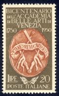 Accademia Belle Arti Di Venezia - 1950 - 20 Lire Bruno E Rosso Bruno (Sassone 632) MNH** LUSSO - 1946-60: Ungebraucht