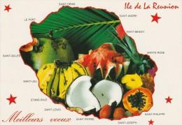 ILE DE LA REUNION MEILLEURS VOEUX CARTE DE L'ILE AVEC FRUITS TROPICAUX ET VILLES PRINCIPALES - La Réunion