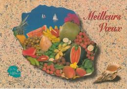 ILE DE LA REUNION MEILLEURS VOEUX CARTE DE L´ILE AVEC FRUITS DE DECEMBRE - La Réunion