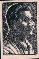 J. Staline, Bois Gravé De H.L.Jeanmaire, Vendu Au Profit Du P.O.P. Vaudois (2122) Trace D'usure - Hommes Politiques & Militaires