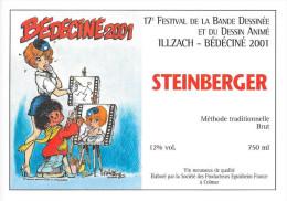 BEDECINE 2001 François WALTHERY & NATACHA Etiquette De Vin Du Festival De Bande Dessinée D´Illzach - Books, Magazines, Comics