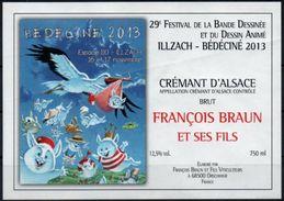 BEDECINE 2013 Dessinateur MASBOU étiquette Vin Crémant Alsace Festival De Bande Dessinée D'Illzach (Haut-Rhin) - Champagne