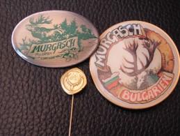 BULGARIAN HUNTING SOCIETY MURGASH series of 3 pcs VINTAGE PINS BADGES