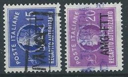 1949-52 TRIESTE A USATO RECAPITO AUTORIZZATO 2 VALORI - ED909 - 7. Triest