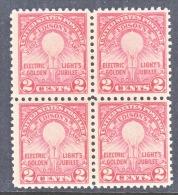 U.S.  654 X 4    Perf  11  **   EDISON  LIGHT  BULB - Unused Stamps