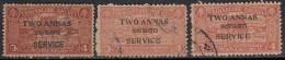 3 Diff., Shade / Perf., Variety, Two Annas Service Travancore Cochin Used 1949 - Travancore-Cochin