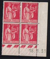 Paix  1,25 Fr  Yv 370  Du 18.1.39  ** - Coins Datés