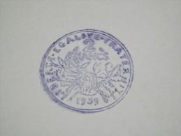 TAMPON SCOLAIRE - PIECE DE MONNAIE - FRANCE - 2 FRANCS - 1959 - OUTIL PEDAGOGIQUE - LIBERTE, EGALITE, FRATERNITE - BOIS