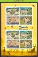 Nbx419MS8b WWF FAUNA ZOOGDIEREN HERTEN KOEDOE GREATER KUDU MAMMALS WILDLIFE ZAMBIA 2008 PF/MNH - W.W.F.