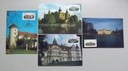 Deutschland DDR 3032/5 Yt 2653/6, Maximumkarte MK/MC, ESST, Schl�sser: Schwerin, G�strow, Rheinsberg, Ludwigslust