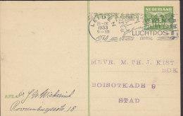 Netherlands Postal Stationery Ganzsache Entier 3 C Taube Slogan LEIDEN 1933 To STAD (2 Scans) - Postal Stationery