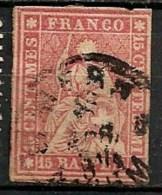 Timbres - Suisse -1854-1862 - 15 Rp.  - Oblitéré - Non Dentelés -