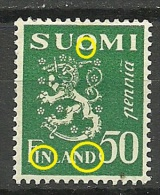 FINLAND FINNLAND Coat Of Arms 50 P With Printing ERROR Druckfehler * - Unused Stamps