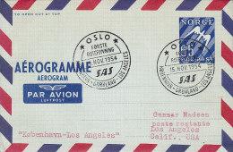 Norway Airmail Aerogramme SAS OSLO-KØBENHAVN-GRØNLAND-LOS ANGELES 1. Flight Cover 1954 !! - Briefe U. Dokumente