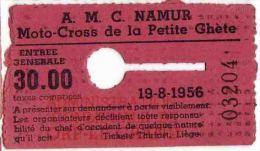 NAMUR MOTO CROSS De La PETITE GHETE 1956 - Tickets - Entradas