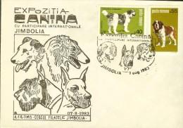 "Cover, Romania, Philatelic Exh. ""Dog Breeds"", Jimbolia 1984, Saint Bernard, Arlequin Dog, - Dogs"