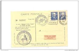 Carte Exposition Philatelique Prades 1950 Festival J.s Bach Daguin - Covers & Documents