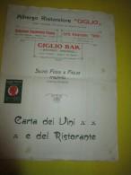 """Carte Du Restaurant Et Des Vins /Albergo Ristorante """"Giglio""""/ Milan: Italie/ Entre 1930 Et 1950      MENU64 - Menus"""