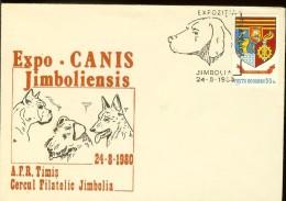 "Cover, Romania, Philatelic Exh. ""Dog Breeds"", Jimbolia 1980 - Dogs"