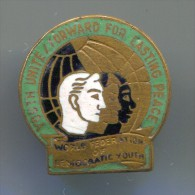 YOUTH UNITE FOR LASTING PEACE - World Federation, enamel, vintage pin, badge