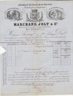 Côte D'Or, Dijon, Marchand, Joly & Cie , Spécialité De Cassis  (2 Scans) 1866 - Alimentaire
