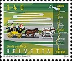 Swizerland 2014 1 V MNH Lindau Messenger  Stage-coache Horses Horse Chevaux Cheval Caballos Cavalli Pferde Paarden - Stage-Coaches