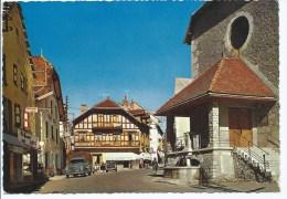 TA1@ CPSM ANIMEE VILLARD DE LANS, TABAC AU FOND, LA PLACE DE L'EGLISE, ISERE 38 - Villard-de-Lans
