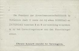 Netherlands ARRONDISSEMENTS-RECHTBANK, ROTTERDAM 1908 Card Karte (2 Scans) - Periode 1891-1948 (Wilhelmina)