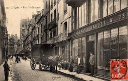 """Dieppe Rue St Jacques Devanture Tapissier /décorateur """"Derambure-Drouet"""" Animé Avec Calèche De LivraisonTBE - Dieppe"""