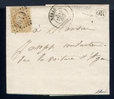 Lettre De Fréchou Pour Le Conducteur De La Voiture D'Agen 1870 - Marcophilie (Lettres)