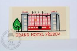 Grand Hotel Prerov - Czechoslovakia - Original Vintage Hotel Luggage Label - Sticker - Etiquetas De Hotel