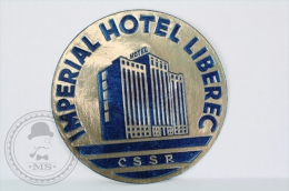 Imperial Hotel Liberec CSSR/ Blue - Czechoslovakia - Original Vintage Hotel Luggage Label - Sticker - Etiquetas De Hotel
