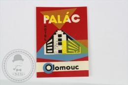 Hotel Palac Olomouc - Czechoslovakia - Original Vintage Hotel Luggage Label - Sticker - Etiquetas De Hotel