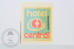 Hotel Central Ceske Budejovice - Czechoslovakia - Original Vintage Hotel Luggage Label - Sticker - Hotel Labels