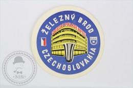 Hotel Zelezny Brod - Czechoslovakia - Original Vintage Hotel Luggage Label - Sticker - Etiquetas De Hotel