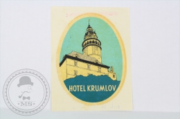 Hotel Krumlov - Czechoslovakia - Original Vintage Hotel Luggage Label - Sticker - Etiquetas De Hotel