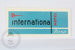 International Hotel - Interhotel Brno - Czech Republic - Original Vintage Hotel Luggage Label - Sticker - Hotel Labels
