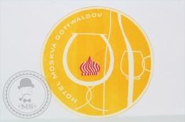 Hotel  Moskva Gottwaldov - Czech Republic - Original Hotel Luggage Label - Sticker - Hotel Labels