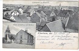 23970 Erbenheim - Wiesbaden -totalansicht -kirke Mit Rathous Denkmal -1423 Kourady - Wiesbaden