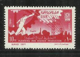 UAR EGYPT EGITTO 1961 REVOLUTION ANNIVERSARY INDUSTRY ELECTRICITY SYMBOLS MNH - Egypt