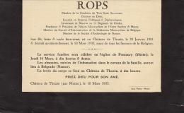 Jacques Emile Charles Felicien Rops - Décès