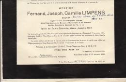 Fernand Limpens écuyer Famille Pouppez De Kettenis De Hollaeken De Ter Meeren - Décès